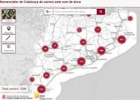 Quants carrers de Catalunya estan dedicats a dones?