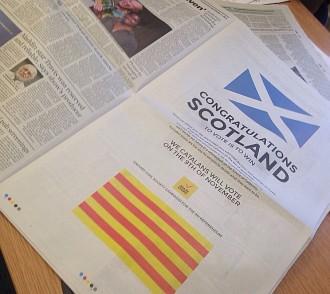«Felicitats Escòcia! Votar és guanyar!», diu el catalanisme als escocesos