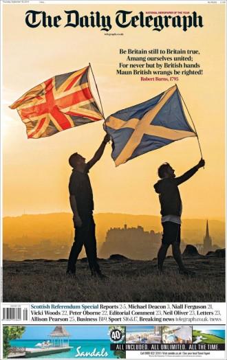 El referèndum d'Escòcia a les portades angleses i escoceses