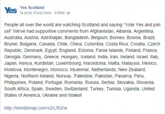 Yes Scotland «reconeix» Palestina i Gal·les, però no Catalunya