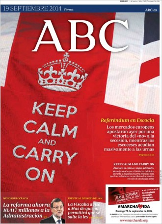 Vés a: «Keep calm, and carry on», a la portada de l'«ABC»