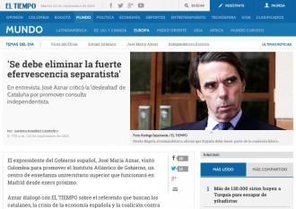 Aznar demana a Rajoy que «elimini la forta efervescència independentista»