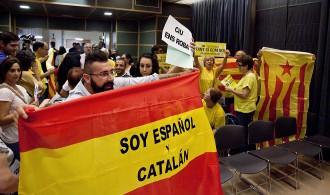 Banderes espanyoles i estelades al ple de suport al 9-N a Salt