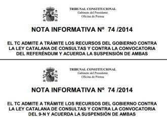 Vés a: El TC també s'equivoca i suspèn un suposat «referèndum»