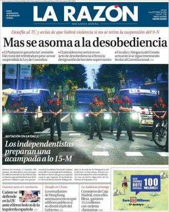 «Mas se asoma a la desobediencia», a la portada de «La Razón»