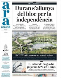 «Duran s'allunya del bloc per la independència», a la portada de l'«Ara»