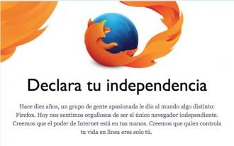 Firefox celebra els 10 anys amb el lema «Declara tu independencia»