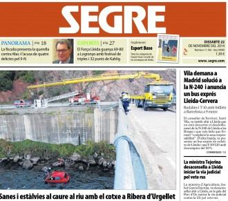 'Un de cada tres lleidatans cobra menys de 645 euros al mes' a la portada del Segre