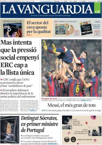 «Mas intenta que la pressió social empenyi ERC cap a la llista única», a la portada de «La Vanguardia»