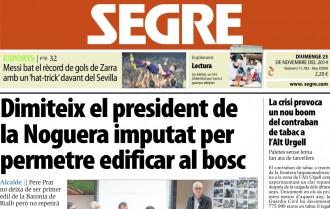 'Pere Prat dimiteix com a president de la Noguera' a la portada del Segre