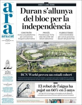 Vés a: «Duran s'allunya del bloc per la independència», a la portada de l'«Ara»