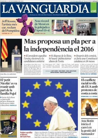 «Mas proposa un pla per a la independència el 2016», a la portada de «La Vanguardia»