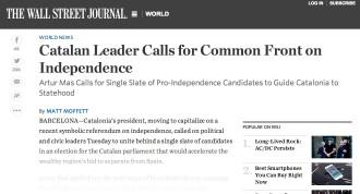 Vés a: «El pla de Mas per a la independència», a la premsa internacional