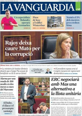«ERC negociarà amb Mas una alternativa a la llista unitària», a la portada de «La Vanguardia»