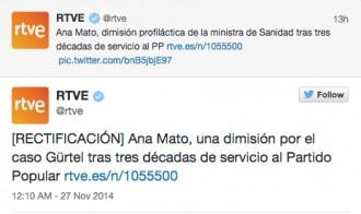 Vés a: TVE defineix la renúncia d'Ana Mato com una «dimissió profilàctica»