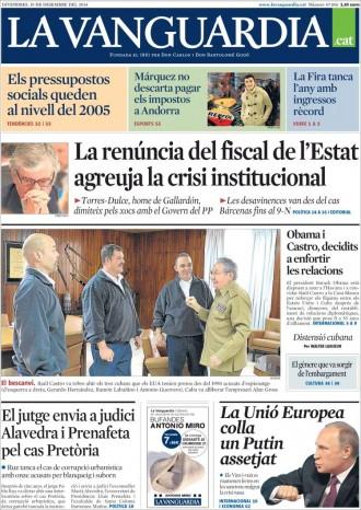 Vés a: «La renúncia del fiscal de l'Estat agreuja la crisi institucional», a la portada de «La Vanguardia»