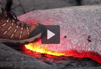 Què passa quan trepitgem lava volcànica?