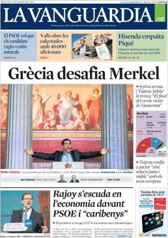 «Grècia desafia Merkel», a la portada de «La Vanguàrdia»