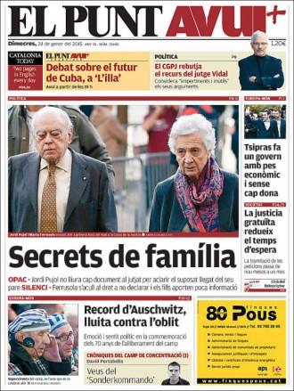 «Secrets de família», a la portada d'«El Punt Avui»