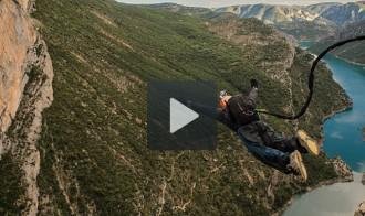Espectacular rècord mundial de «rop jump» al congost de Mont-Rebei
