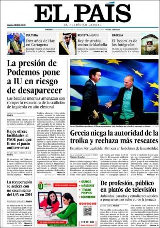 Vés a: «La presión de Podemos pone a IU en riesgo de desaparecer», a la portada d'«El País»