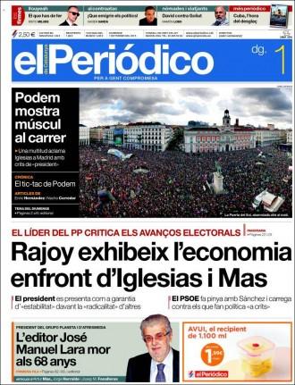 «Rajoy exhibeix l'economia enfront d'Iglesias i Mas», a la portada d'«El Periódico»