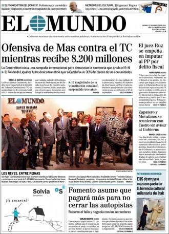 «Ofensiva de Mas contra el TC mientras recibe 8.200 millones», a la portada d'«El Mundo»