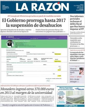 Vés a: «Monedero ingresó otros 370.000 euros en 2013 al margen de la universidad» a la portada de «La Razón»