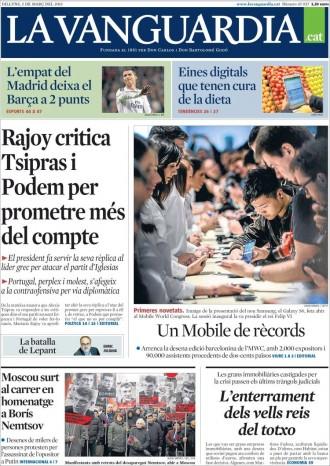 «El Mobile porta el futur» a la portada de «La Vanguardia»