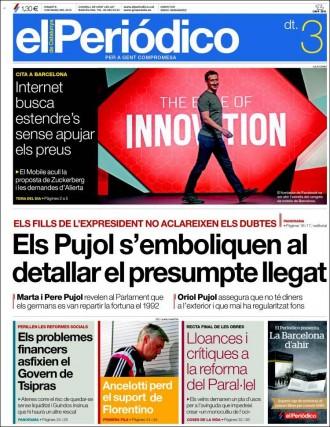 «Els Pujol s'emboliquen al detallar el presumpte llegat», a la portada de «El Periódico»