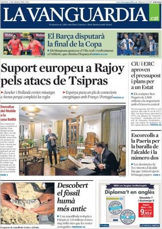Vés a: «Escorcolls a la Paeria per la baralla de l'alcalde i la número dos», a la portada de «La Vanguardia»