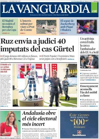«Ruz envia a judici 40 imputats del cas Gürtel», a la portada de «La Vanguardia»