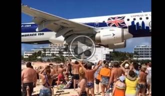 L'espectacular aterratge d'un avió a càmera lenta en una illa del Carib