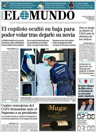 Vés a: «El copiloto ocultó su baja para poder volar tras dejarle su novia», a la portada d'«El Mundo»