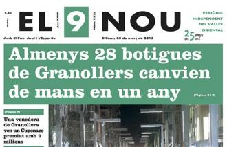 La portada d'El 9 Nou d'aquest dilluns