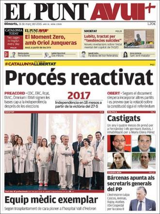 «Procés reactivat», a la portada d'«El Punt Avui»