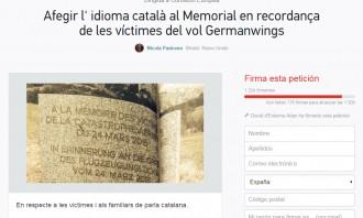 Vés a: Petició a Change.org perquè s'inclogui el català al memorial de les víctimes de Germanwings