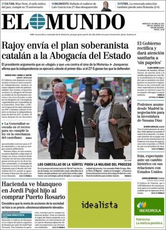 Vés a: «Rajoy envía el plan soberanista catalán a la Abogacía del Estado», a la portada d'«El Mundo»