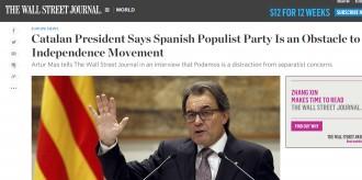Mas alerta al WSJ que el «populista» Podem «és un obstacle» per al procés