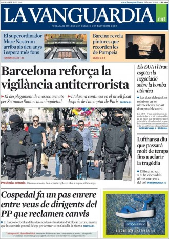 «Barcelona reforça la vigilància antiterrorista», a la portada de «La Vanguardia»