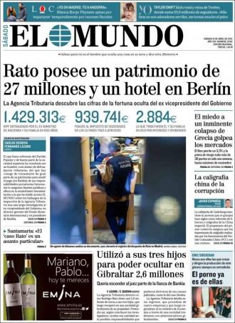 Vés a: «Rato posee un patrimonio de 27 millones y un hotel en Berlín», a la portada d'«El Mundo»