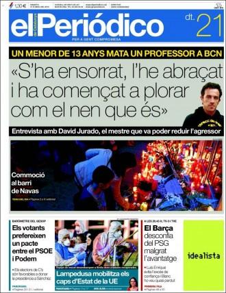 «S'ha ensorrat, l'he abraçat i ha començat a plorar com el nen que és», a la portada d'«El Periódico»
