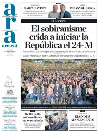 Vés a: «El sobiranisme crida a iniciar la República el 24-M», a la portada del diari «Ara»