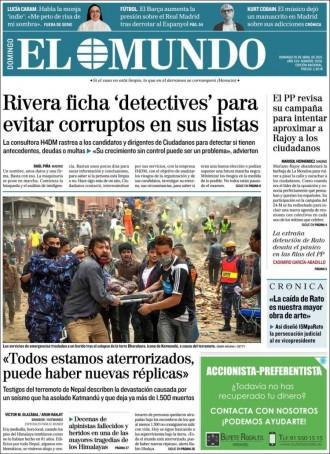 Vés a: «Rivera ficha 'detectives' para evitar corruptos en sus listas», a la portada d'«El Mundo»