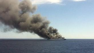 Vés a: Un ferri de Trasmediterranea s'incendia prop de Mallorca