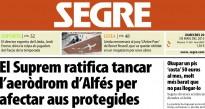 «El Suprem ratifica tancar l'aeròdrom d'Alfés», al Segre