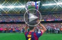 Xavi aixeca l'última Lliga com a jugador del Barça