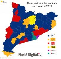 Vés a: MAPA: Només set capitals de comarca canvien la força més votada