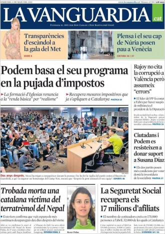 Vés a: «Podem basa el seu programa en la pujada d'impostos», a la portada de «La Vanguardia»