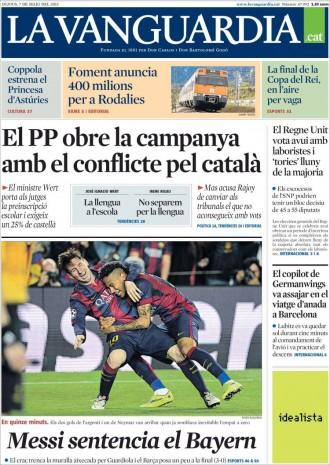 Vés a: «El PP obre la campanya amb el conflicte pel català», a la portada de «La Vanguardia»
